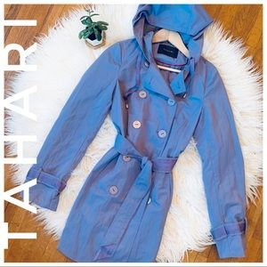 TAHARI periwinkle purple trench coat